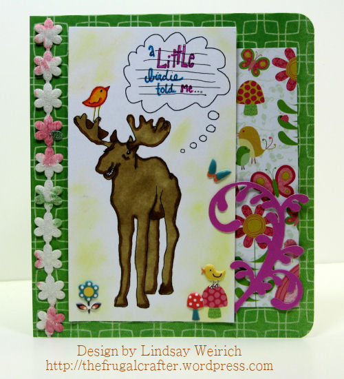 The moose, bubble and birs are all seperate stamps. Just resize and peice the scene together, easy peasy!