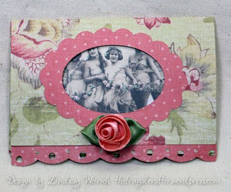 Here is the card closed, it is very dainty, I added a ribbon rose and a strip of scalloped paper and thats it.