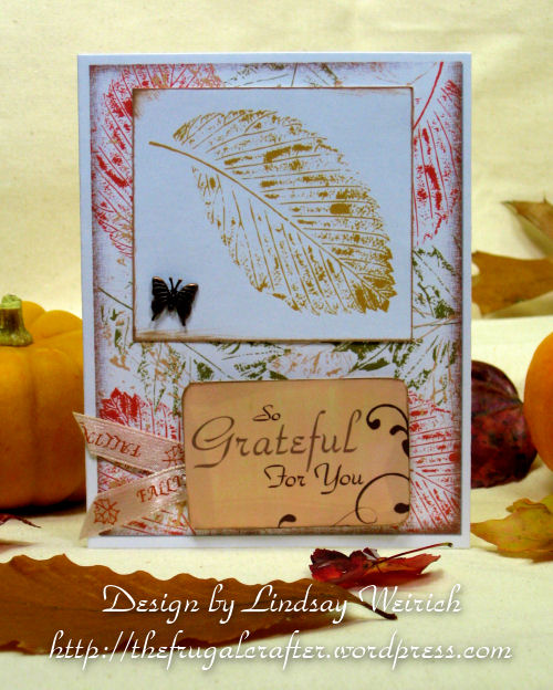 Stamps and paper: Lindsays Stamp Stuff. The Sentiment and the background paper are today's Freebie! See download links below ;)