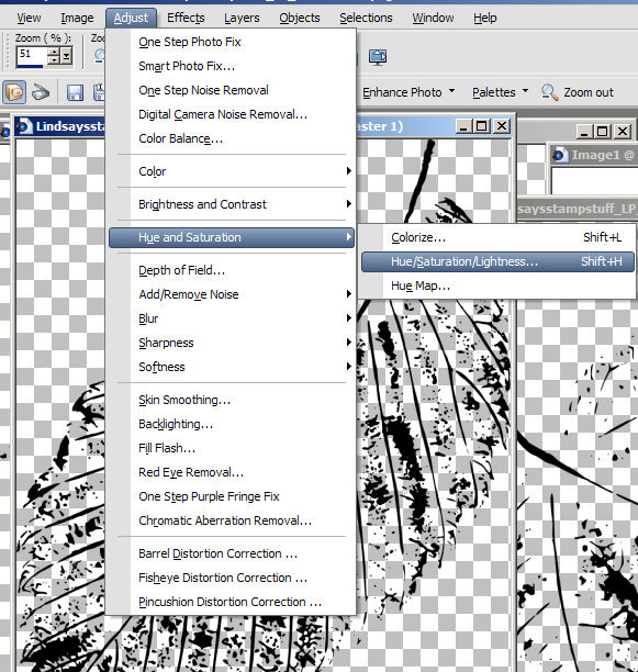Click adjust and pich Hue/sturation/lightness. If you are not using PSP look for works like hue, color, channel mixer or red/green blue. you will find there are many ways to adjust the color of your stamp in any of the craphic/photo software you use.