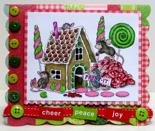 Stamps: House Mouse, Paper: K&Co, Other: Ribbon, slides, buttons