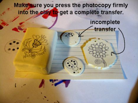 Here are the stamps transferred on the clay after baking.