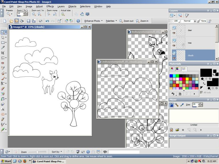 step 1. Open a new document and copy/paste the stamps you wan to use as new layers.