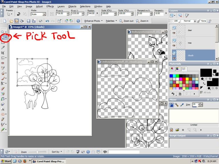 Use the pick tool to re-size and arrange the stamps.