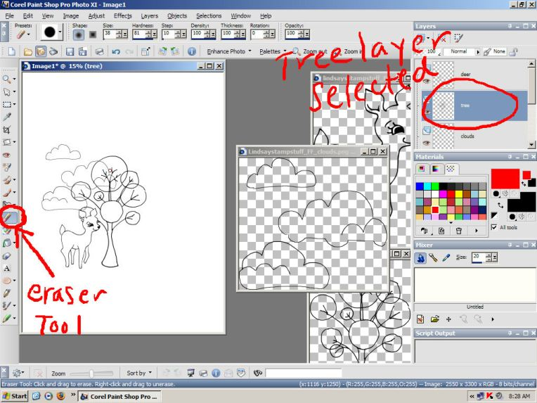 """Use the eraser tool to remove overlapped portains of the design. Here I have the """"tree"""" later selected and I am erasing parts of the tree that are behind the deer."""
