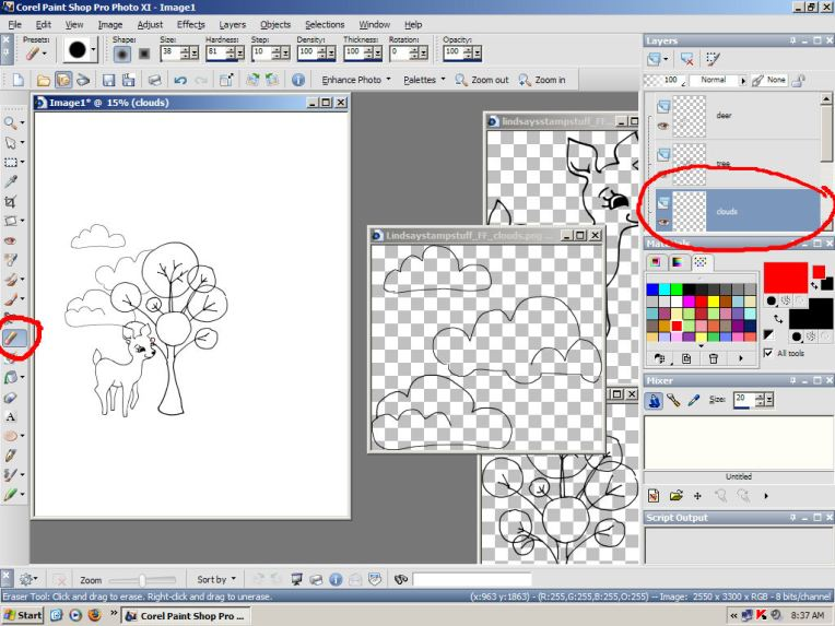 Here I am erasing the parts of the clouds that are behind the tree, see how the cloud layer is selected.