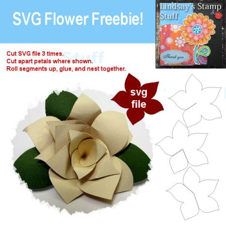Here is a SVG and Printable template you can use to make a flat or 3-D flower, click the pic to download:)