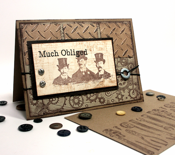 Steampunk thank you card the frugal crafter blog stamp credits the schematic blueprint stamp is by technique tuesday the 3 men is by tim holtz and the much obliged is by inkadinkado malvernweather Choice Image