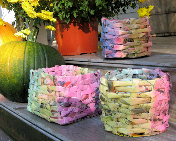Kid s craft make newspaper baskets the frugal crafter blog for Make project using waste materials