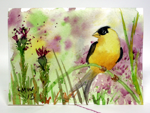 easy watercolor tutorial goldfinch the frugal crafter blog