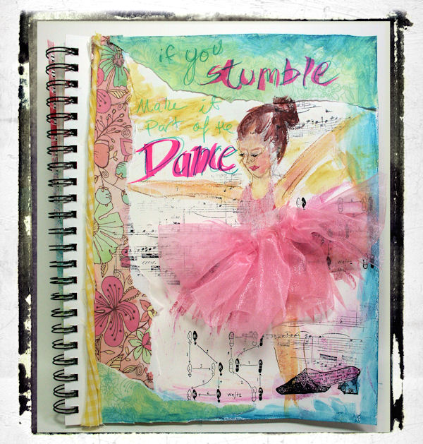 Dance Mixed Media Fun Art Journal Page!