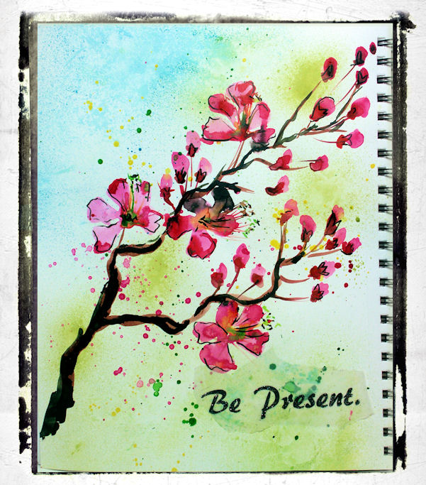 Mixed Media Fun! Tips for wrinkled Pages & Painting Cherry Blossoms in your Art Journal!
