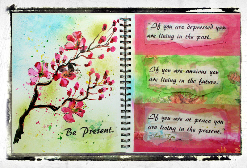 Mixed Media Fun! Tips for wrinkled Pages   Painting Cherry Blossoms in