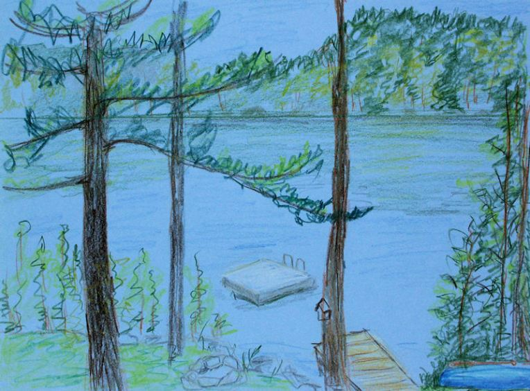 This is a quick colored pencil sketch on blue paper of the view from our deck.