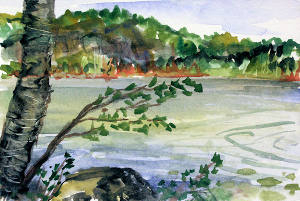 A watercolor postcard painting of the view from our dock.