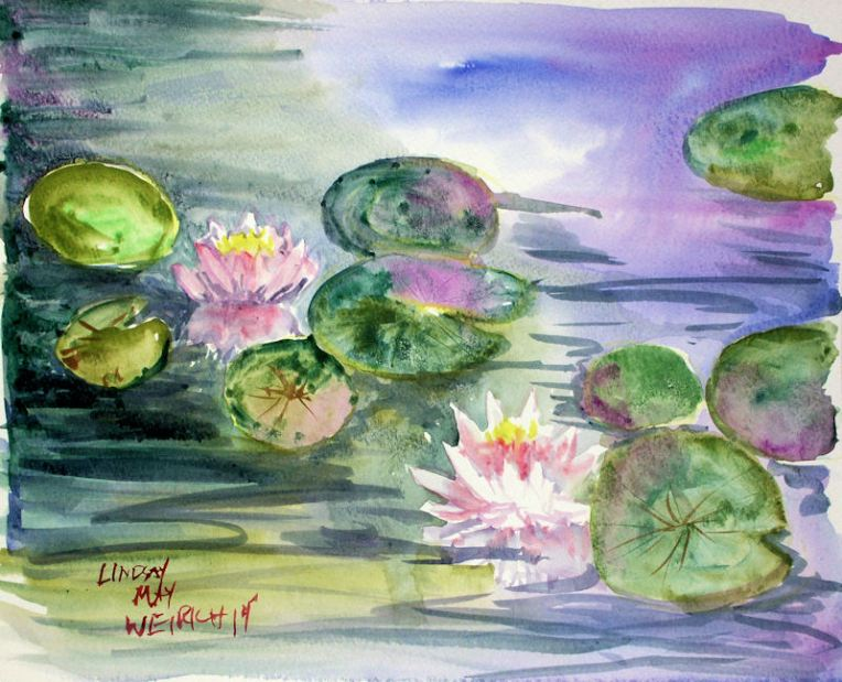 Waterlilies in watercolor the day after the first waterlily painting, another one bloomed! The flowers only opened in the morning. I sat on the dock with my coffee and paints. My dog shook all over this painting after she went for a swim, I think she helped it LOL!