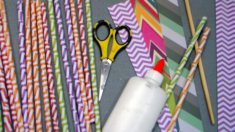 Supplies: Scrapbook paper, school glue, a chopstick, scissors and wax.