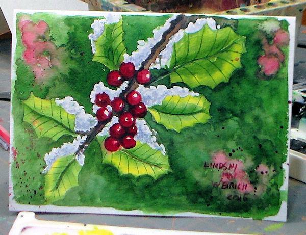 Lets Paint Holly Cute Watercolor Christmas Card Idea