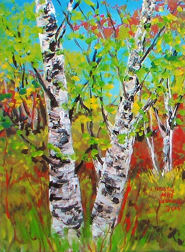Easy birch trees in acrylic thefrugalcrafter 39 s weblog for How to paint with a palette knife with acrylics