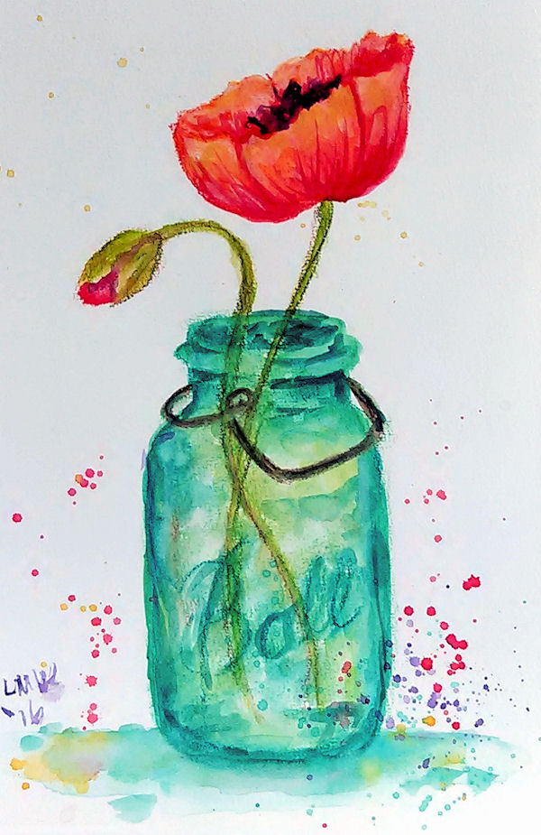 Lets draw a mason jar poppy in watercolor pencils the frugal crafter blog