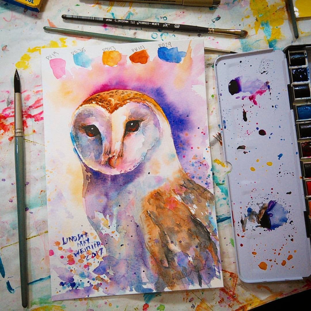 live  owl in watercolor tutorial  12 30pm et