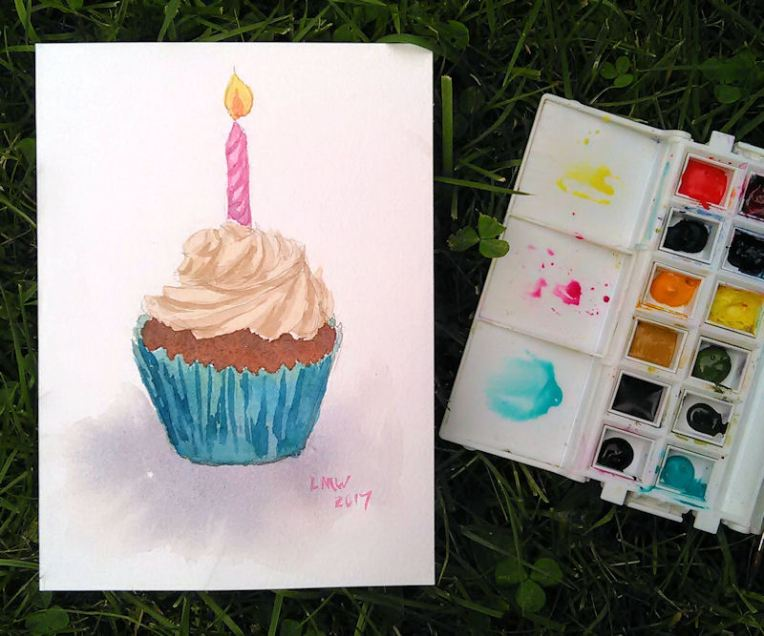 Watercolour Cake Birthday Card