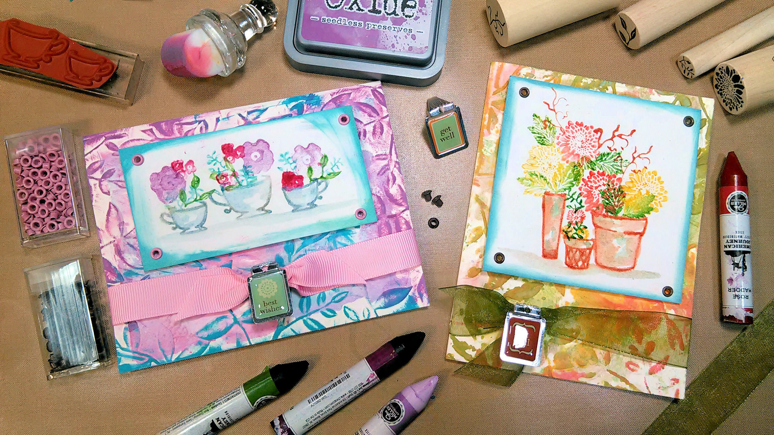 Watercolor Crayon Cards (you can use other stuff too!) & Moldy Oldies!