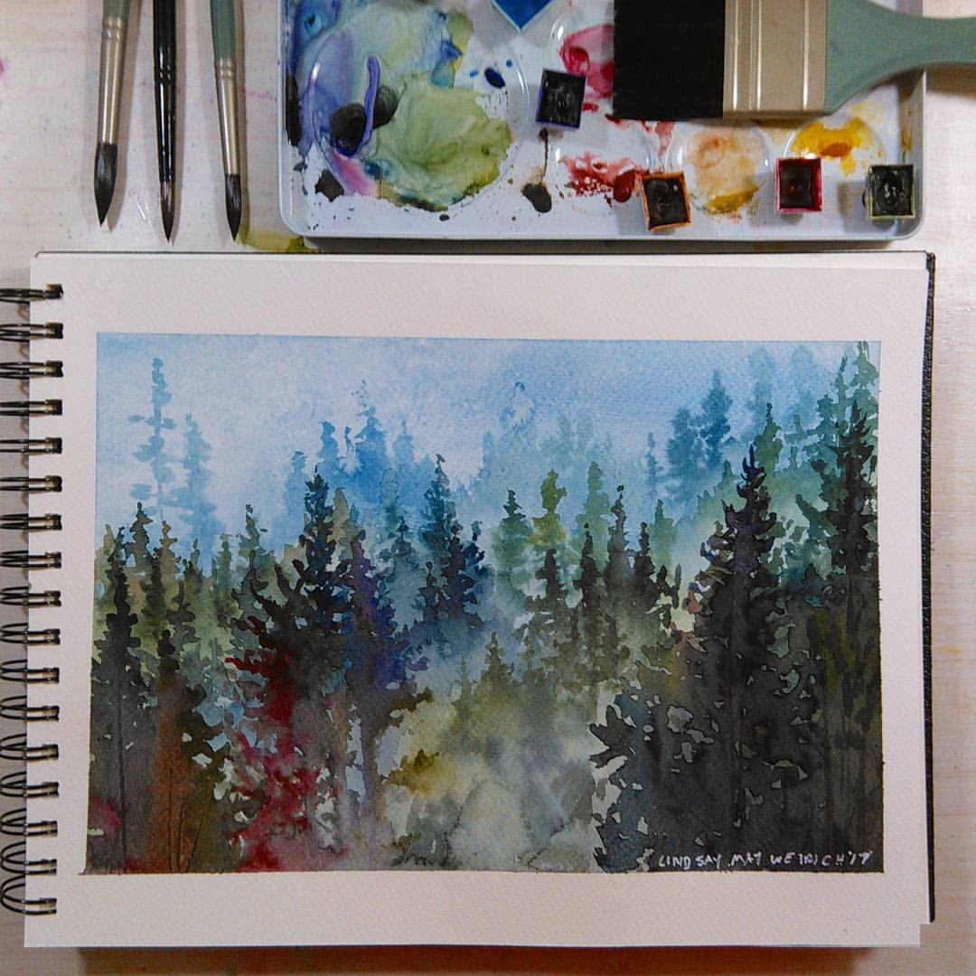 LIVE: Misty Mountains in Watercolor 12:30pm ET Today!