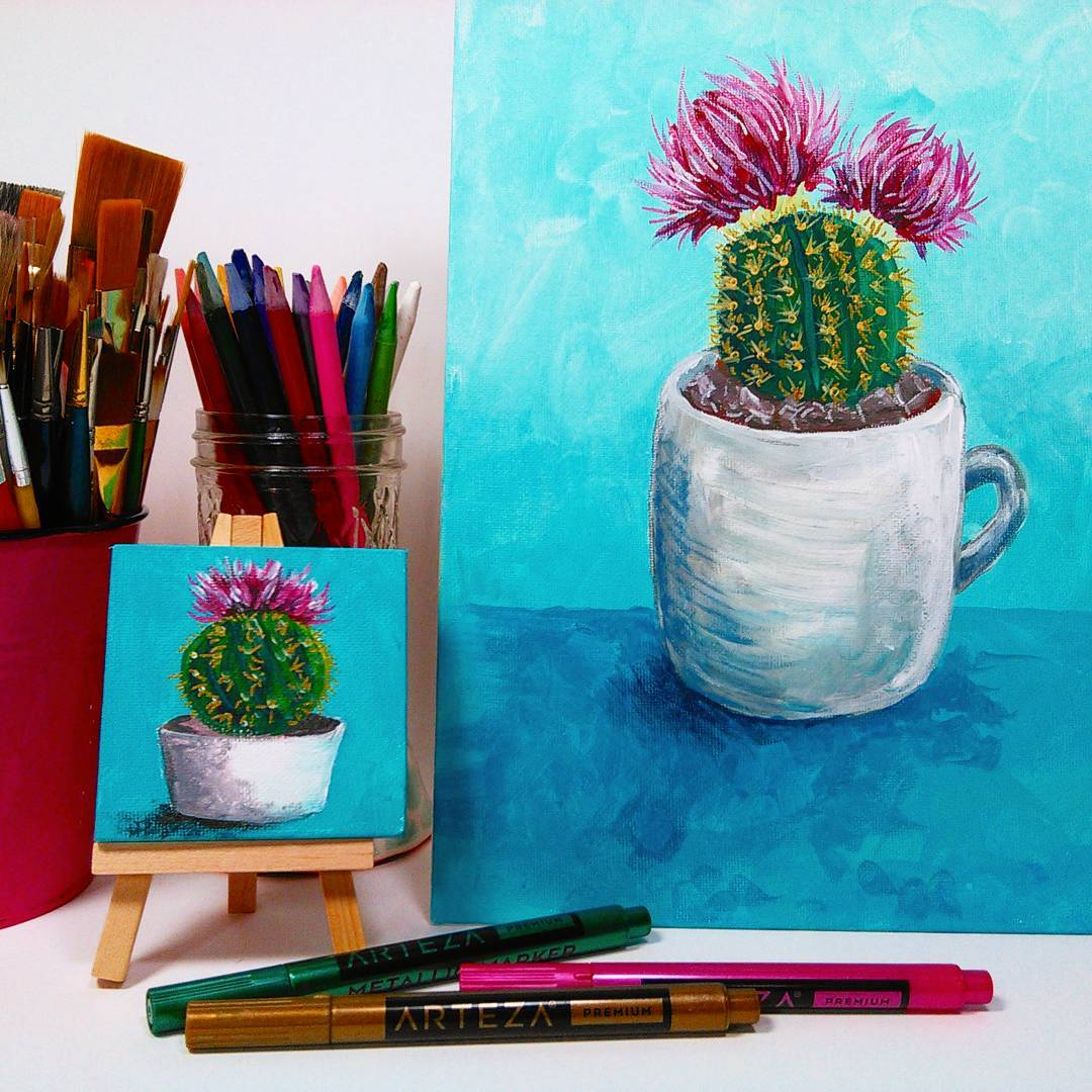 Canvas Giveaway and Acrylic Painting Cactus Tutorial!