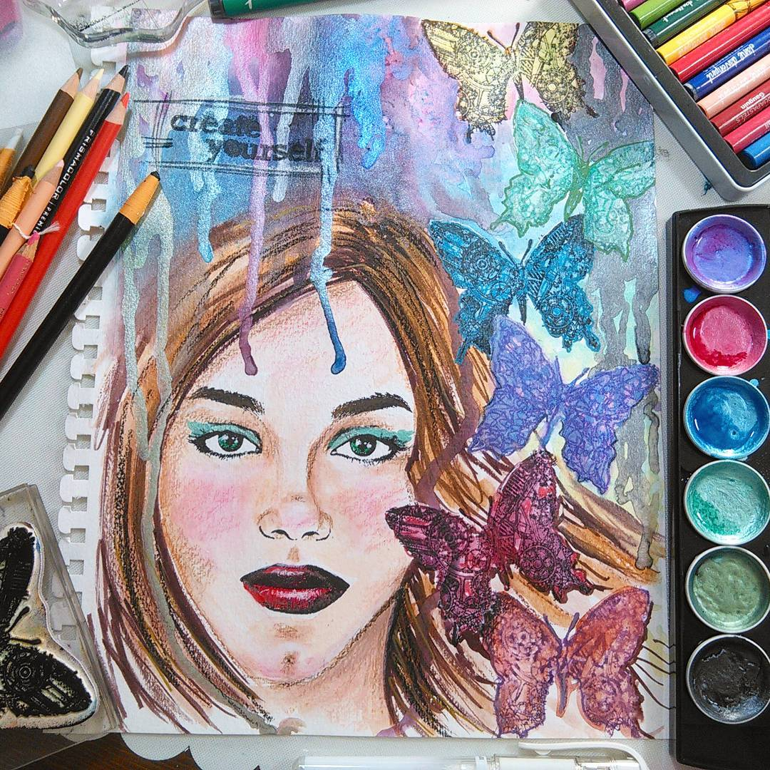 Glitzy Girl Art Journal Page!