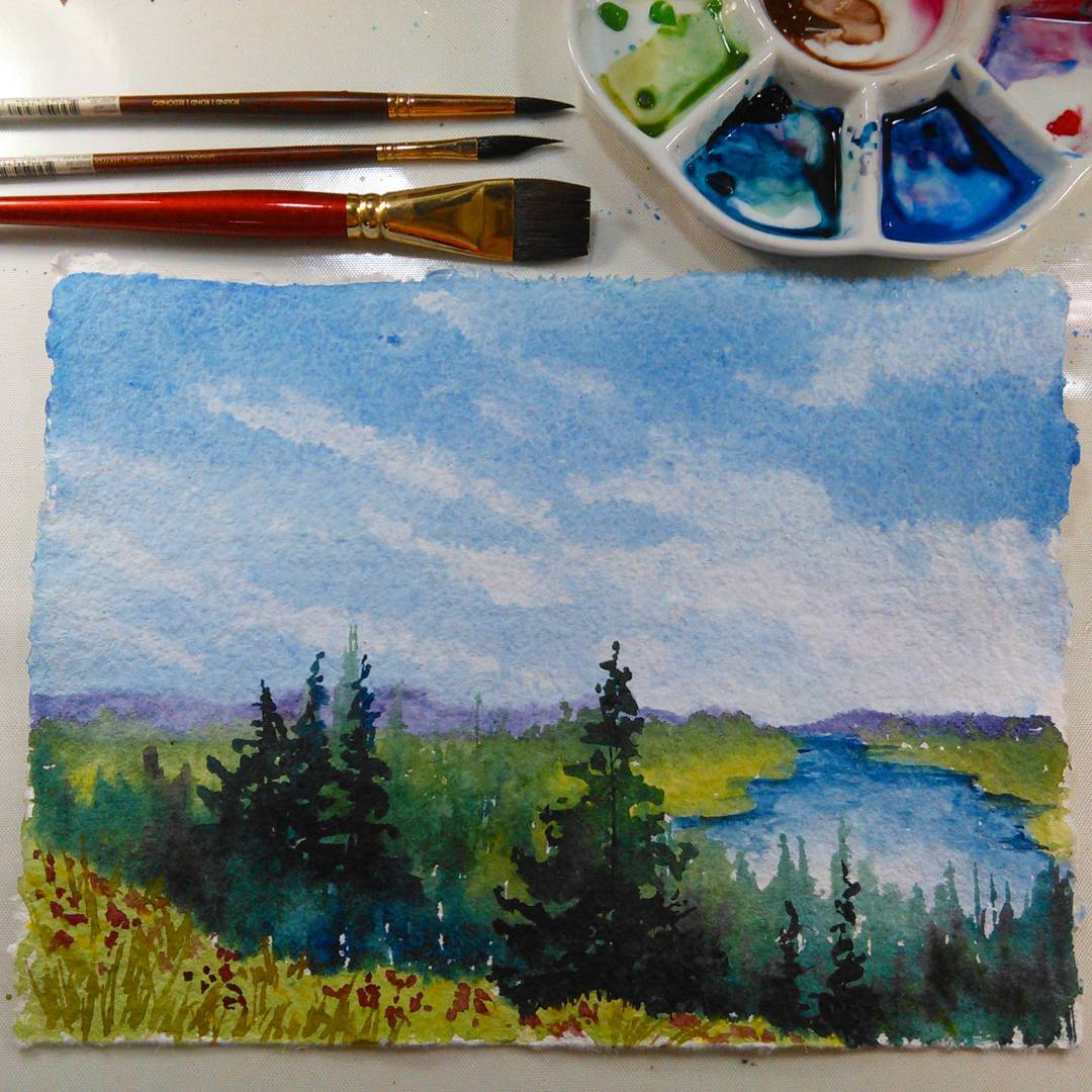 Paint this relaxed beginner watercolor landscape in real time!