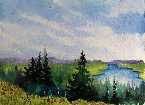 Paint This Relaxed Beginner Watercolor Landscape In Real Time