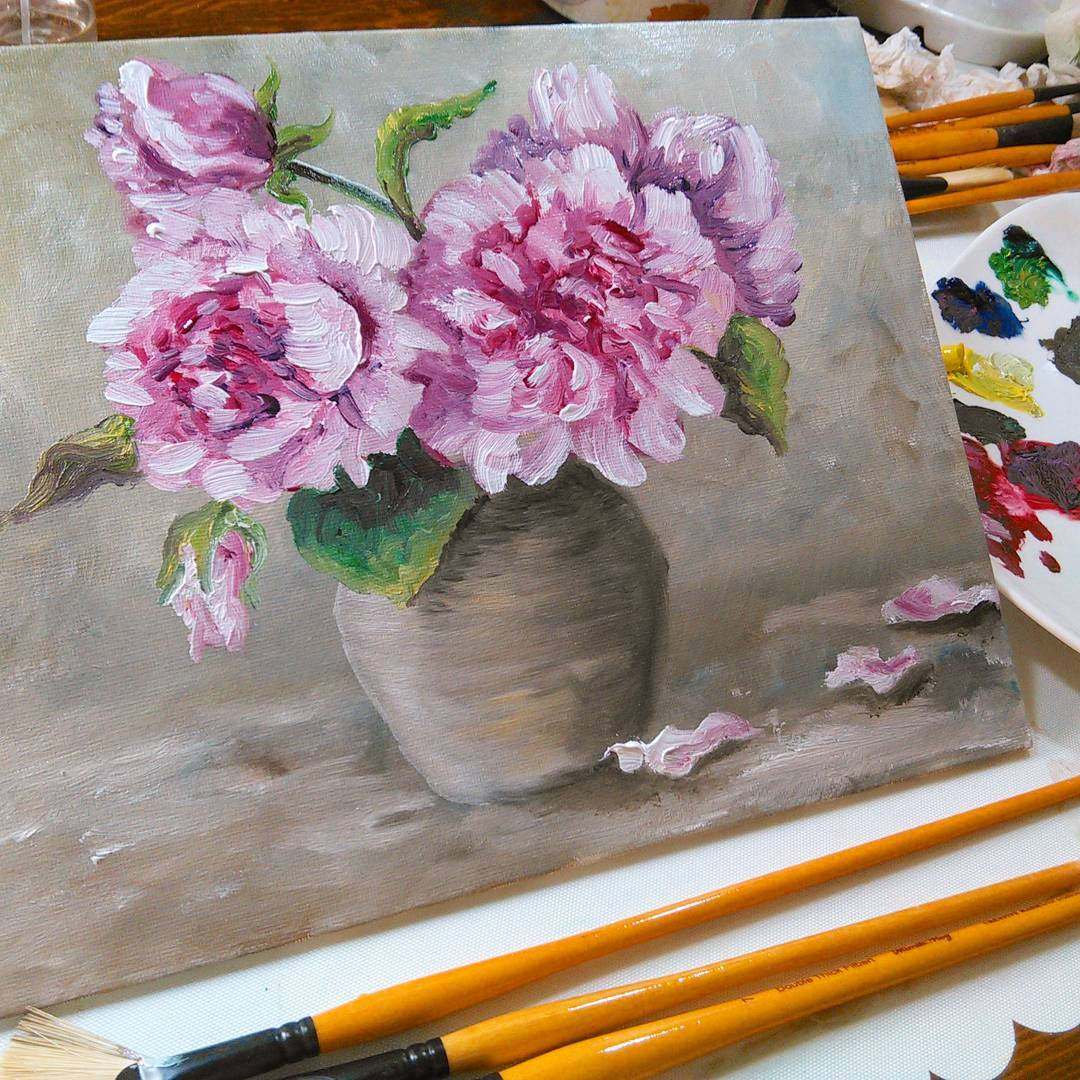 Beginner Oil Painting: Peonies