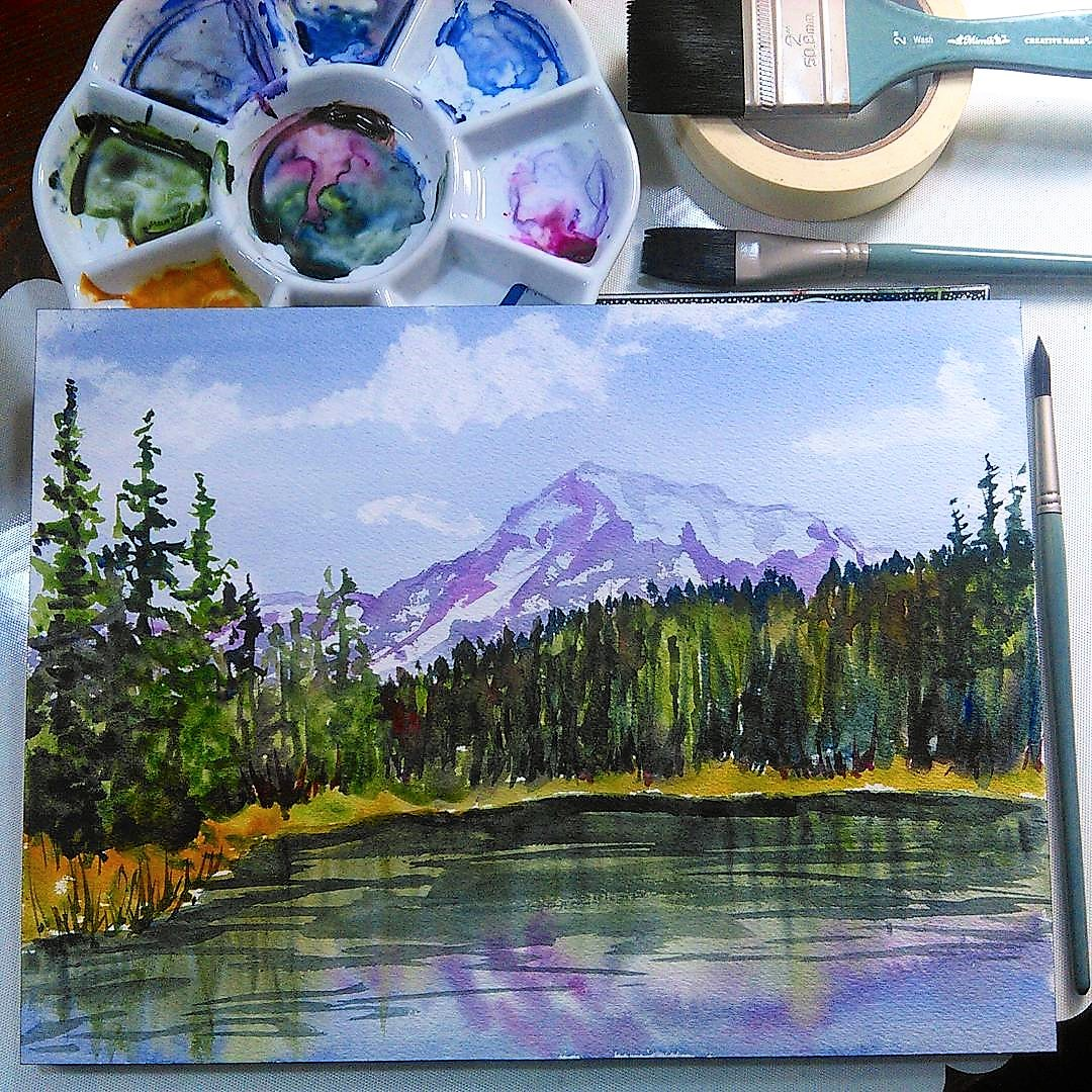 Easy Watercolor Landscape! (Timelapse)