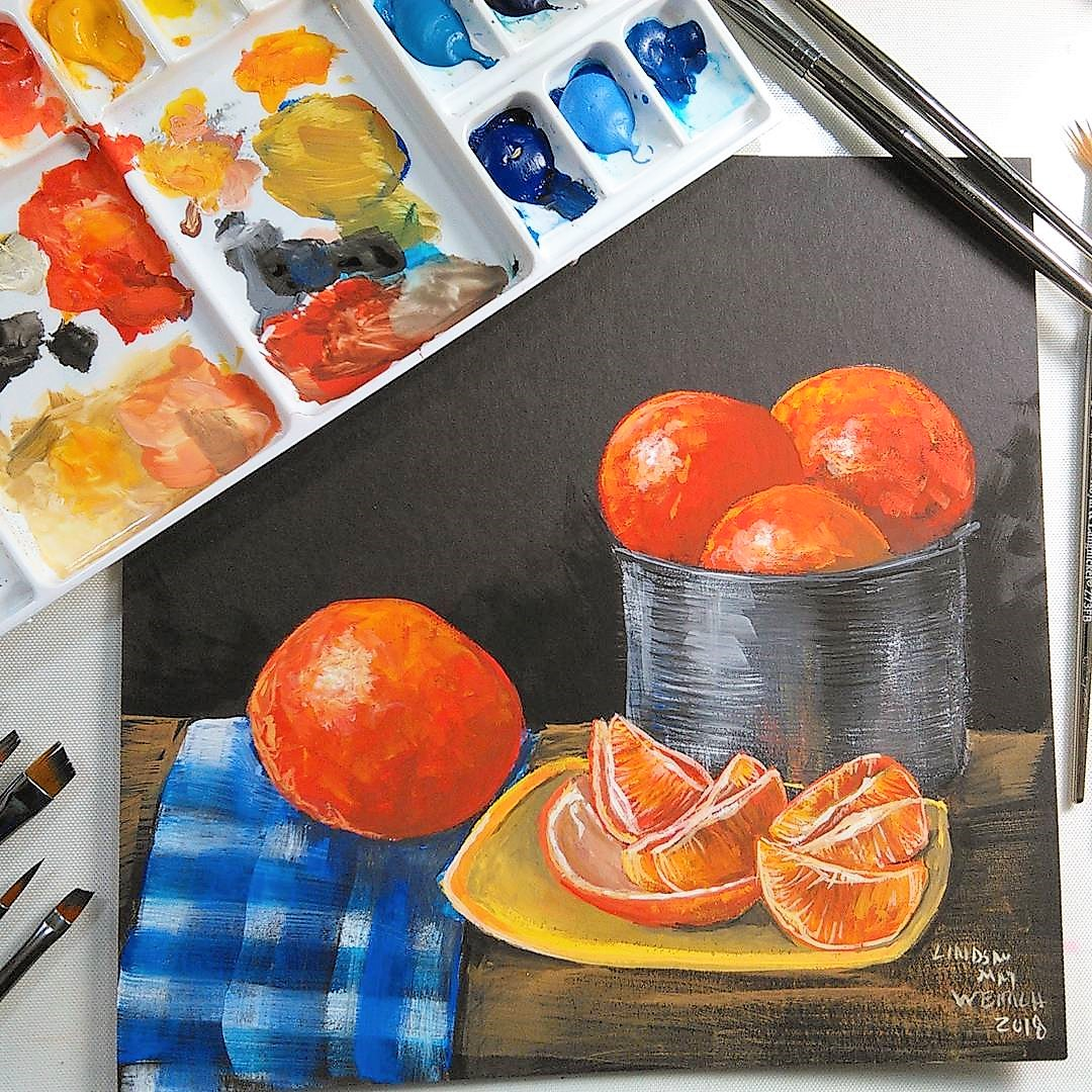 LIVE! Still Life with Oranges in Gouache 12:30pm ET!