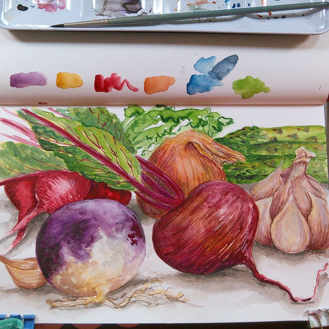 Paint with me live at 12:30pm Eastern Time Today! Veggies!