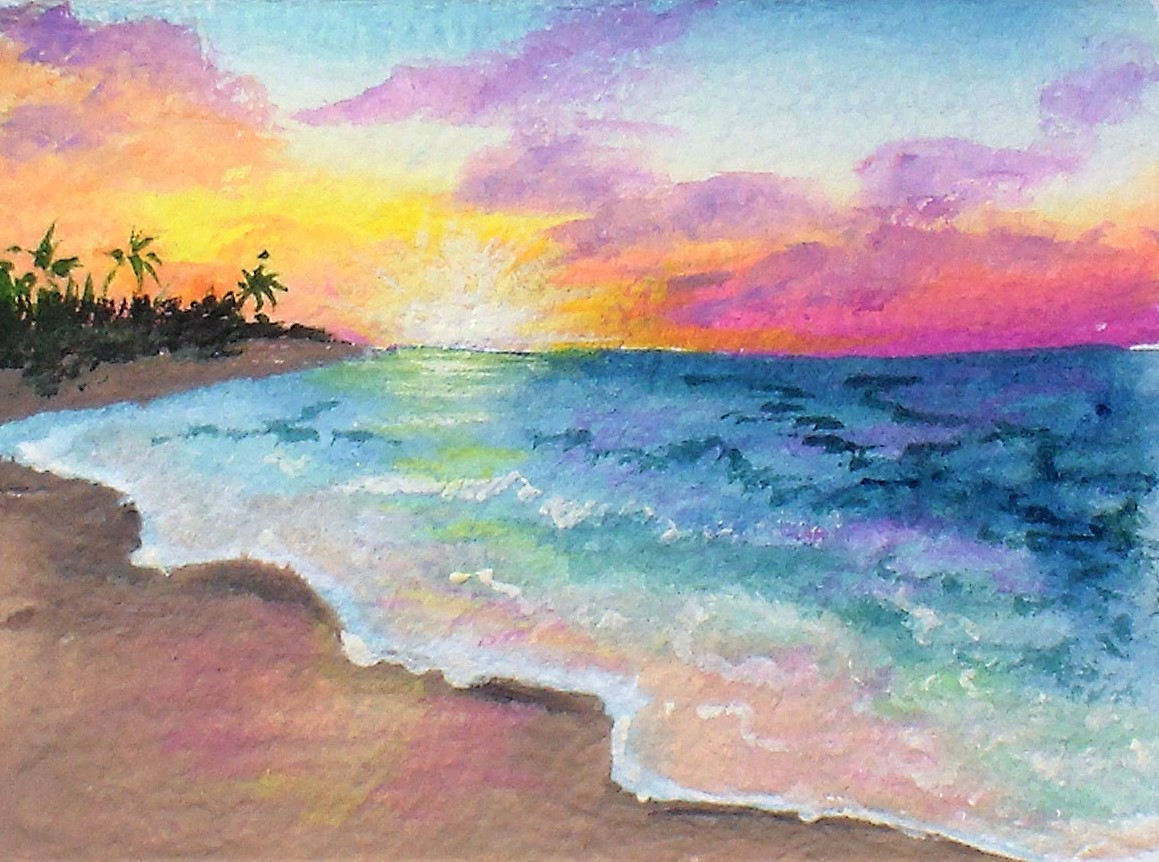 Easy Sunset Painting Tutorial, Limited palette, DIY Gouache!