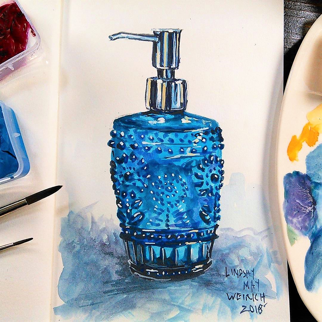 Sketchbook Sunday: Blue Lotion Bottle