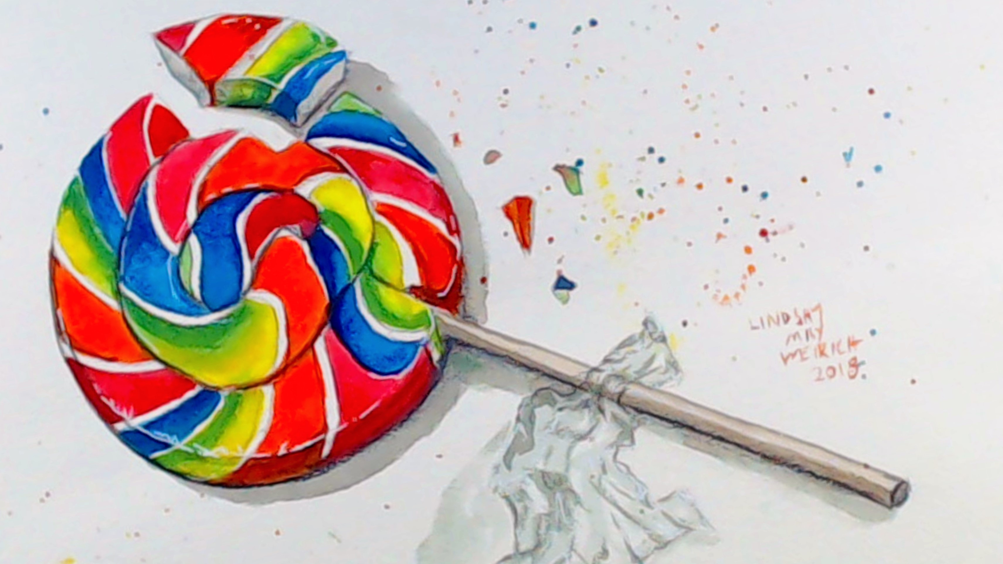 LIVE! Fun & Colorful Rainbow Lollipop in Watercolor! 12:30pm ET