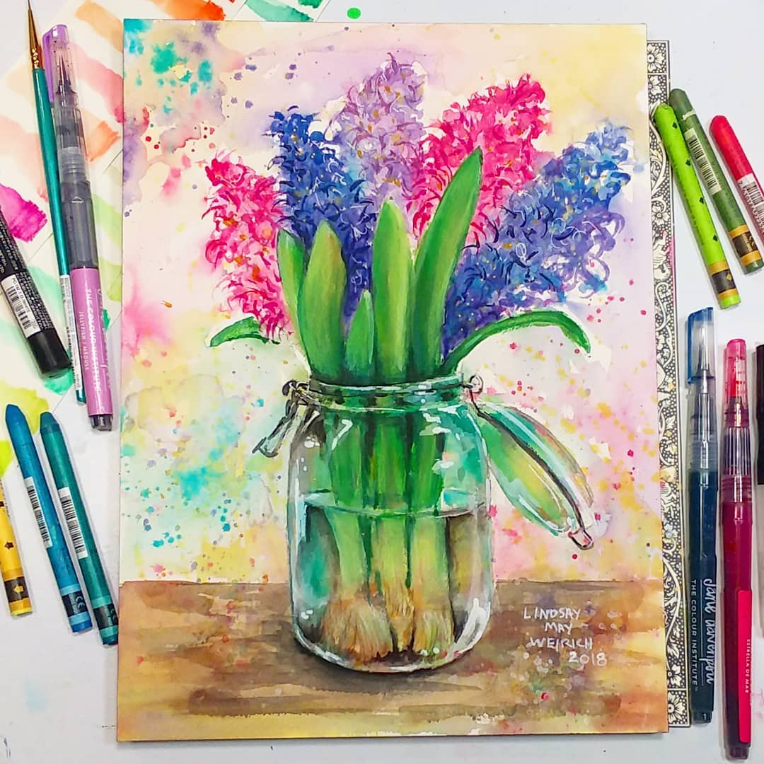 LIVE today at 12:30pm ET: Painting Hyacinth Flowers in a Mason Jar