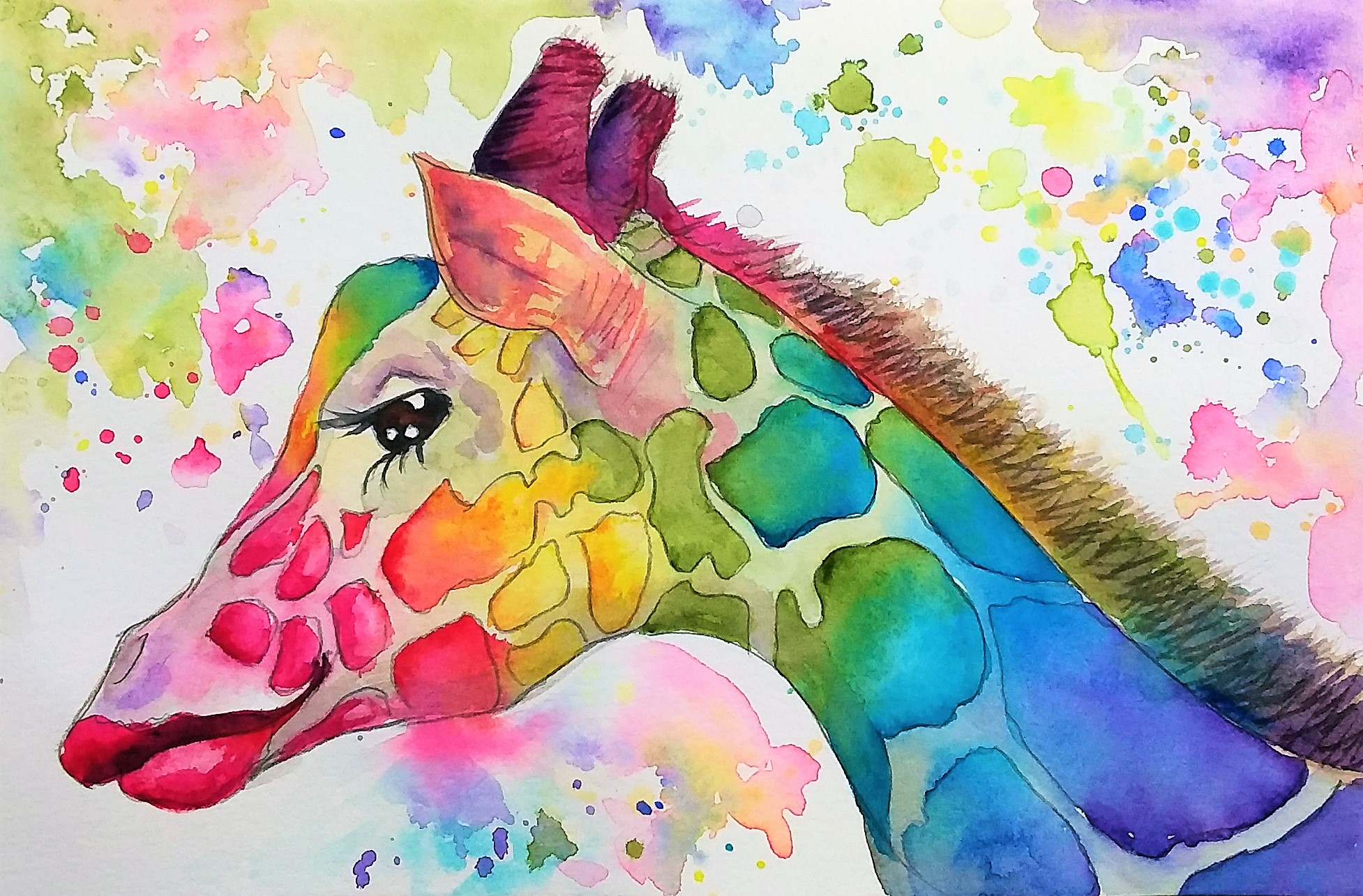 LIVE! Let's Paint a Rainbow Giraffe in Watercolor! 12:30pm ET!