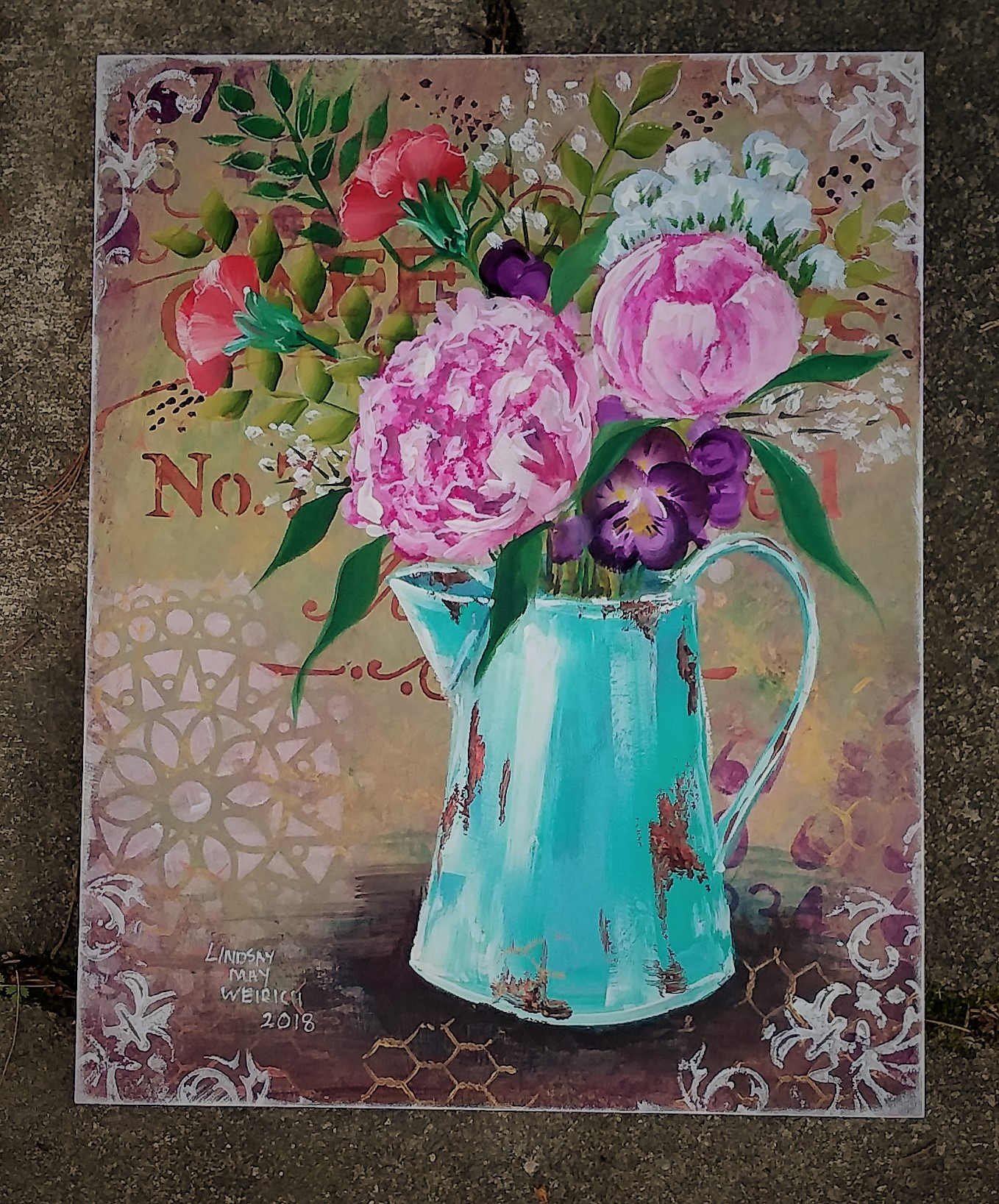 "Shabby Chic ""Farmhouse Flowers"" Mixed Media FUN Art!"
