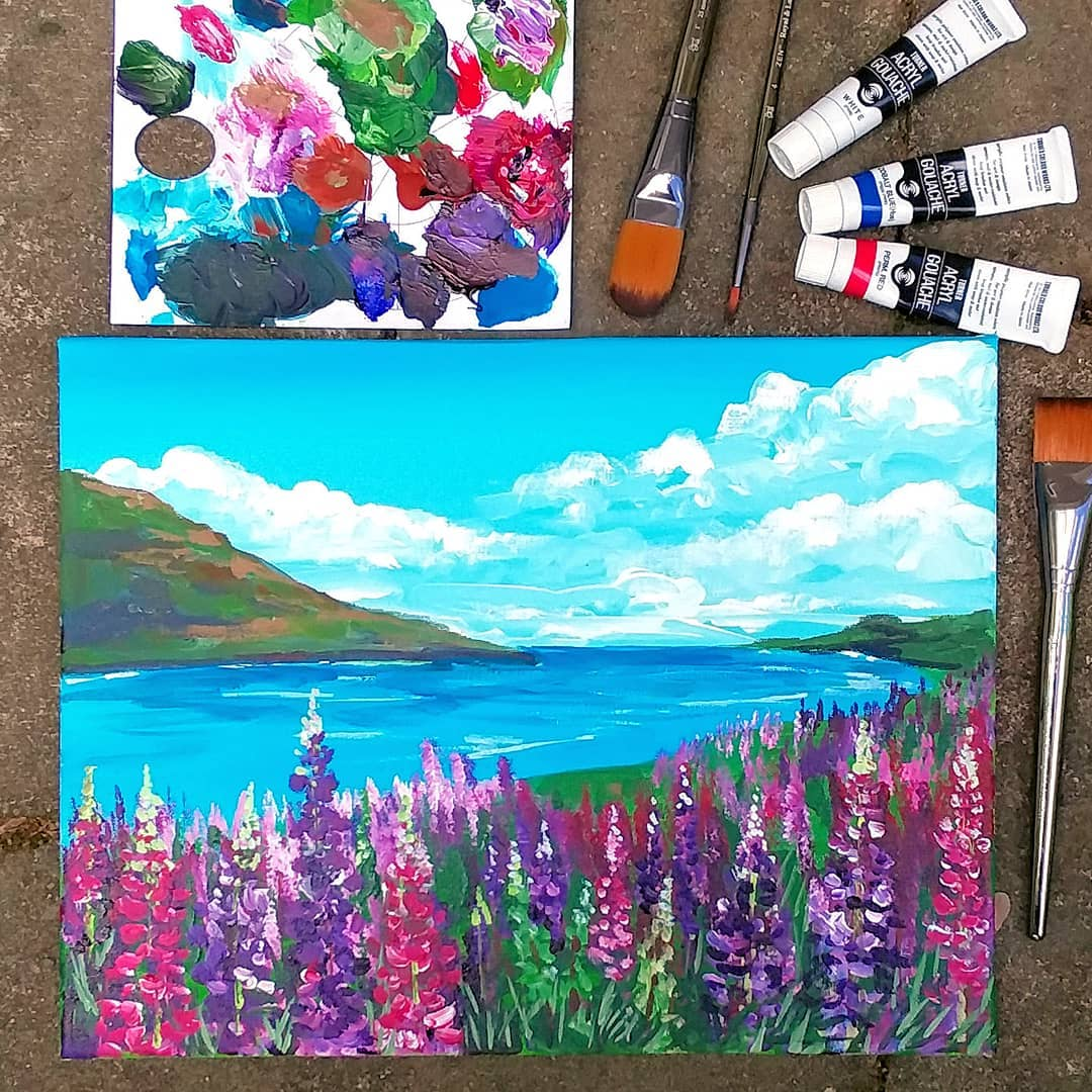Acrylic Lupine Landscape for Beginners!