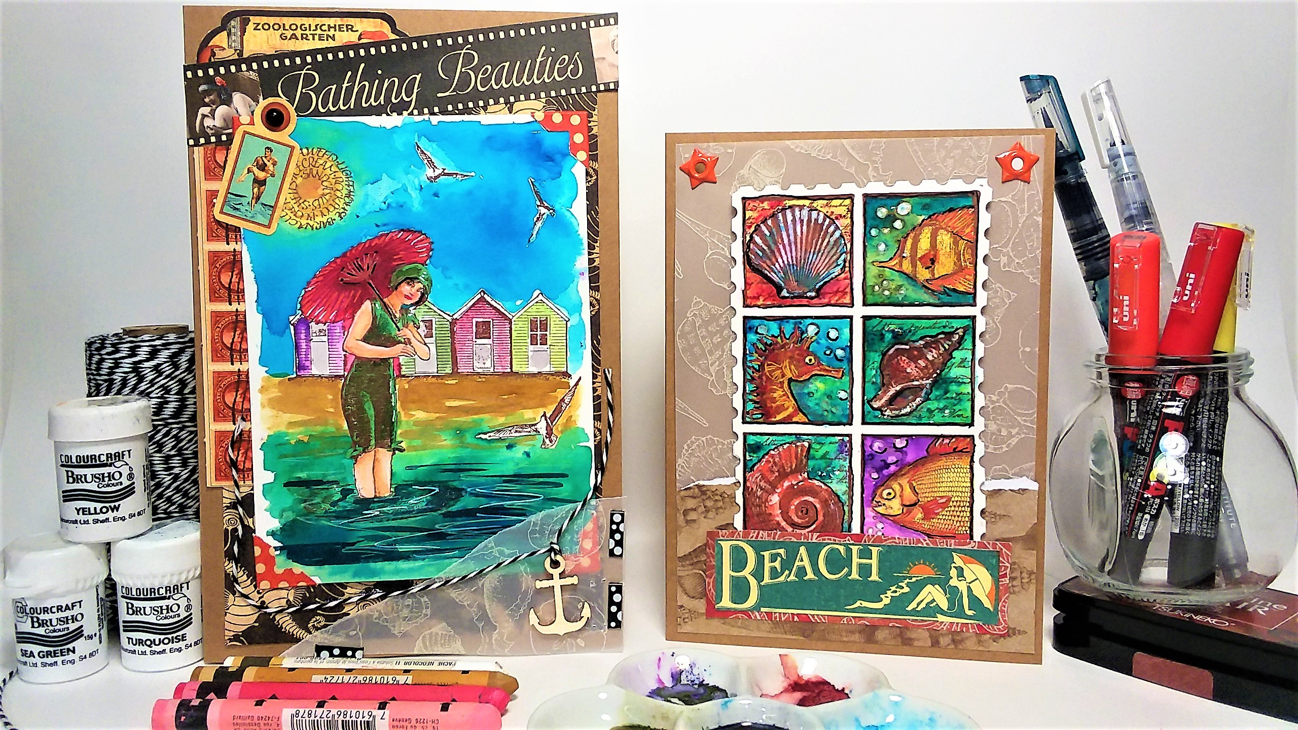 Summer Fun Beachy Brusho Cards!