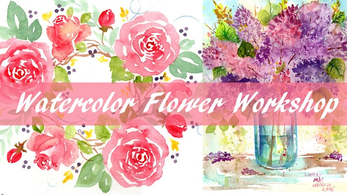Easy Beginner Rosebud Motif in Watercolor!