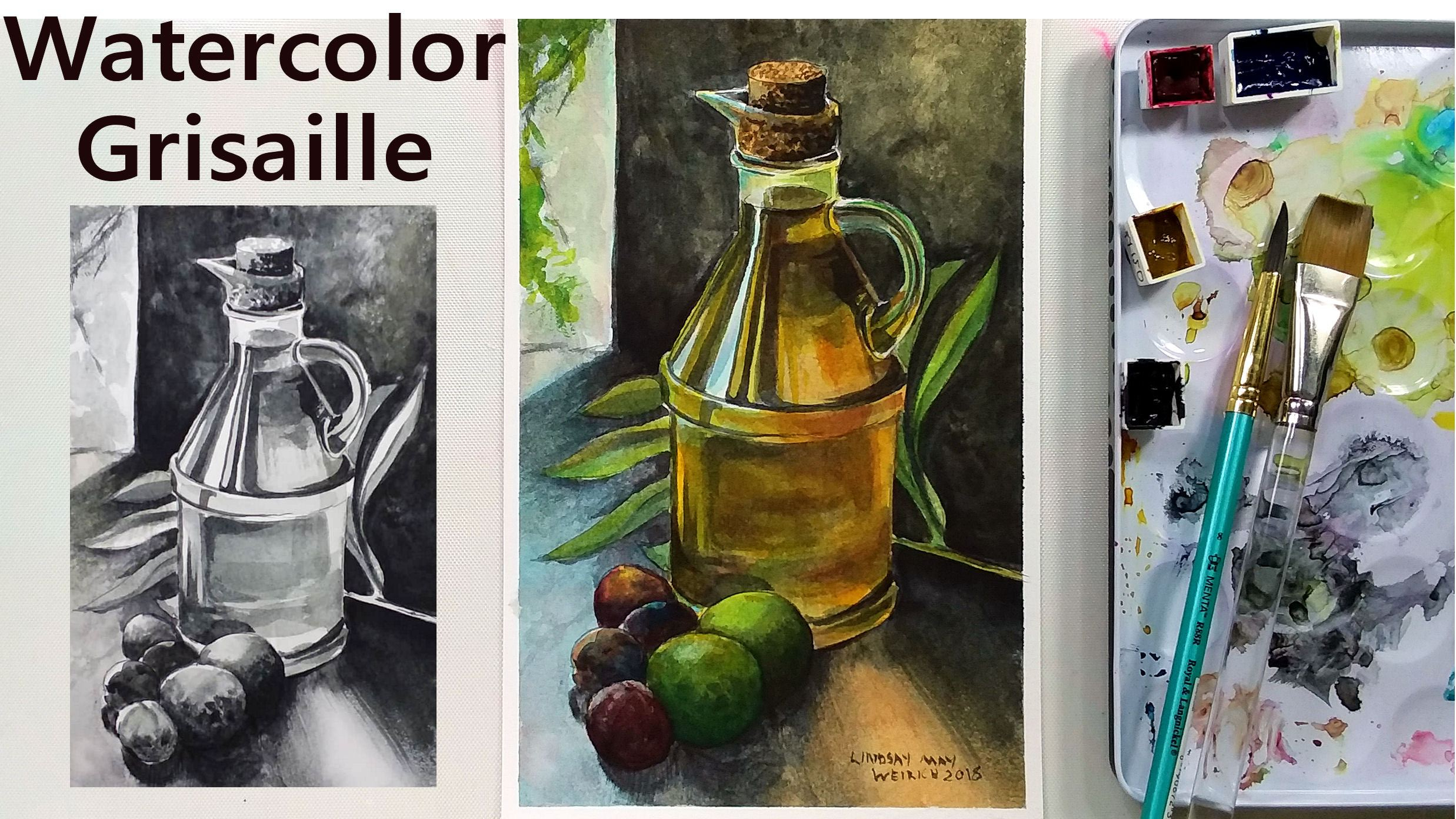 Wow! Watercolor Grisaille Painting Tutorial, You have got to try this!