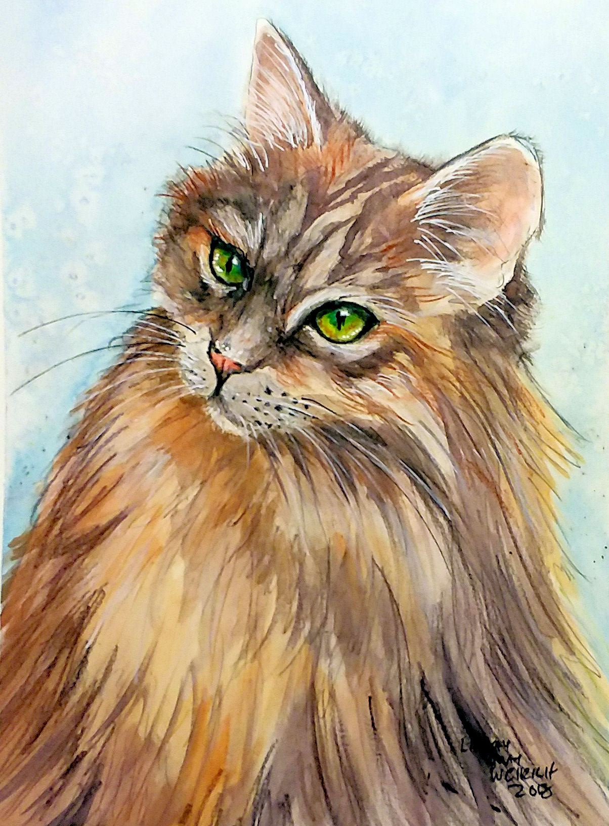 Let's Paint a Beautiful Long Hair Cat PLUS 25 Watercolor Pencil Tips & Giveaway!!!
