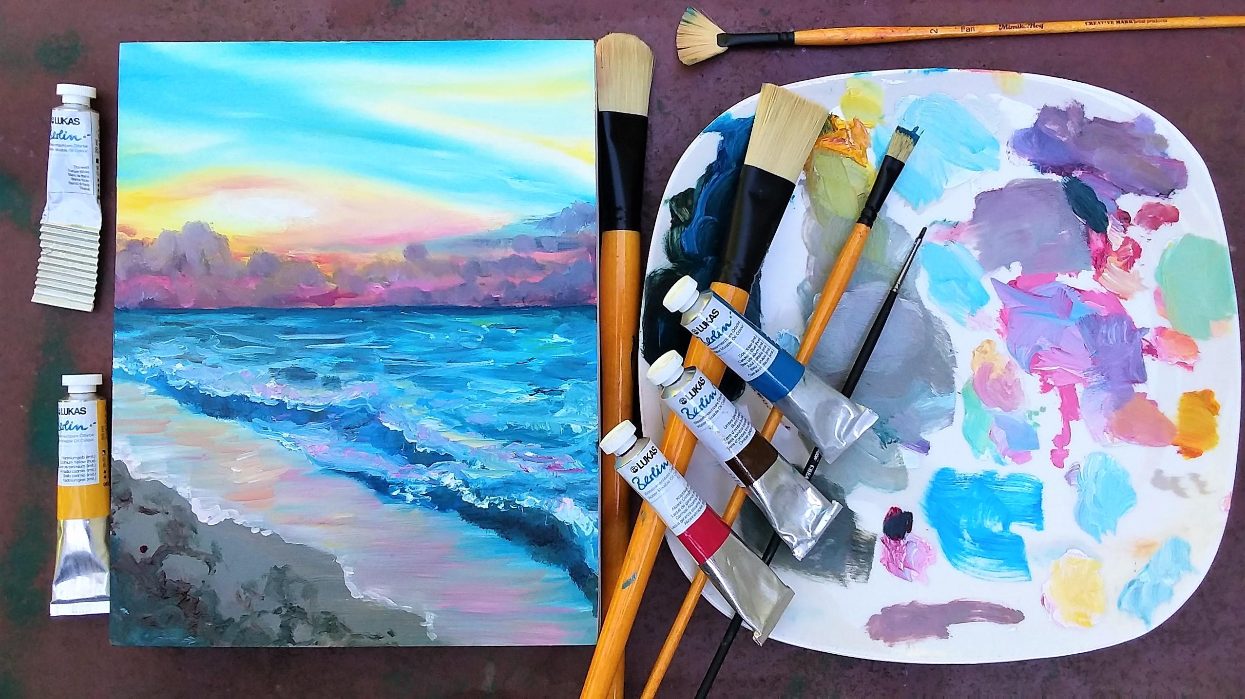 Easy Beginner Sunset in Oils
