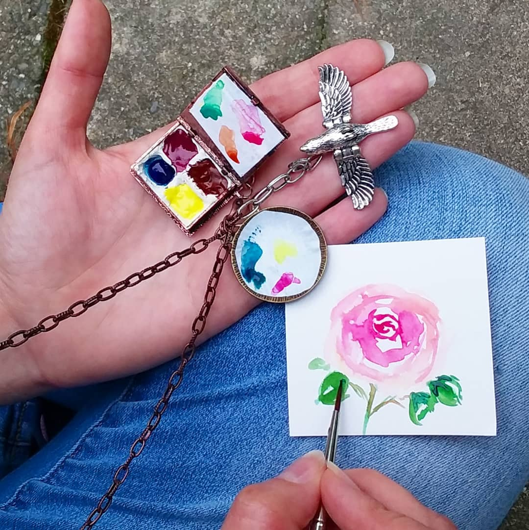 Lots of FUN with Beads! Watercolor Locket Palette Necklace, Boho Wrap Bracelet, a Handmade Travel Journal & More!