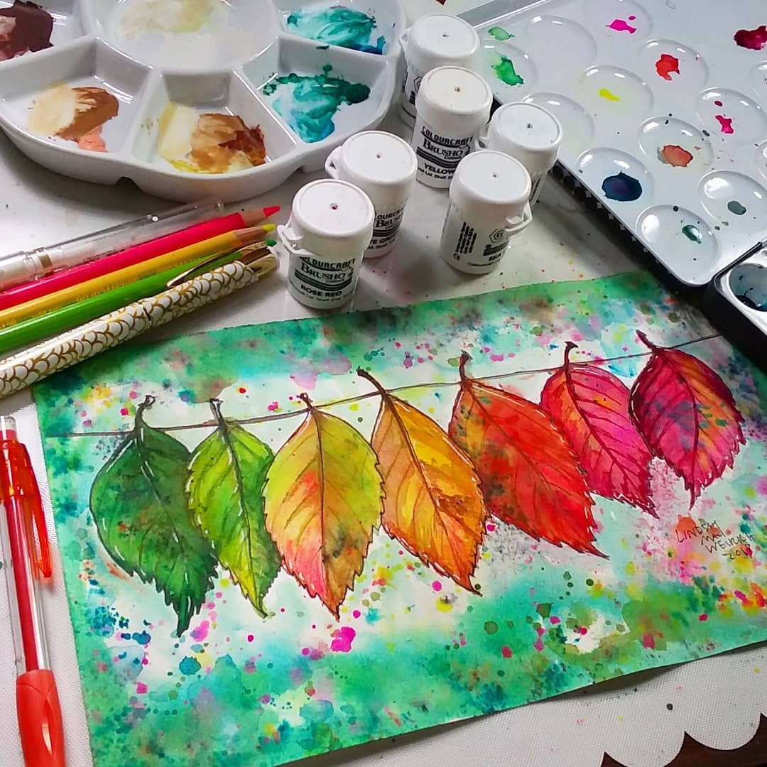 Colorful & Quirky Fall Leaves in Watercolor (with BRUSHO accents!)
